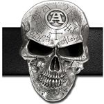 Omega Skull Belt Buckle Pewter Alchemy 17-B69