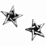 Pentagram Star Studs Earrings Pewter Alchemy E164