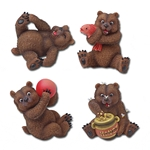 Set of Four Grizzly Bear Statues