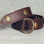 Medieval Knights Brown Leather Belt with Antiqued Brass Roses 200678