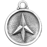 Four Point Caltrap Pewter Pendant Necklace 121.0671