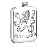 Scottish Lion Stamped Pewter Flask 6 Ounces