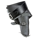 Fast Draw Single Holster Tooled Leather Rig - XL Waist