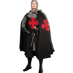 Hooded Crusader Cape - Black with Red Cross 101603
