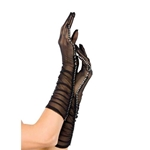 Mesh Ruched Elbow Length Gloves with Faux Rhinestone Trim 28-G1800