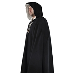 Medieval Cloak in Black Wool Winter Cape