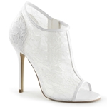 Open Toe Lace Ankle Boots In White