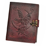 Small Fairy Moon Leather Blank Book - 5 X 7 Inches