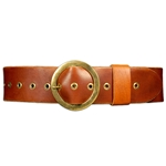 Wide Leather Pirate Belt - Round Brass Buckle