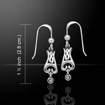 Celtic Knotwork Spiral Silver Earrings 52-TE1132