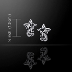 Flying Dragons Silver Post Earrings 52-TE1156