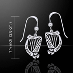 Celtic Knotwork Silver Harp Earrings 52-TE2864