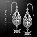 Green Man Silver Earrings 52-TER125