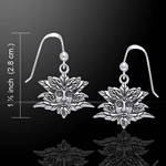 Green Man Silver Earrings