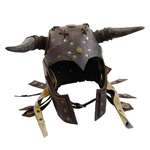 Barbarian Leather LARP Helmet with Foam Horns - Brown 61-2006-BR