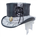 Havisham Top Hat, White Curtsy Band