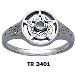 Crescent Moon Pentacle Ring with Stone 66-TR3401