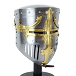 13th Century Great Helm - Brass Crown and Cross