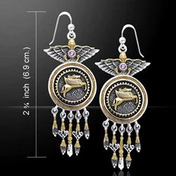 Silver and Gold Pegasus Earrings 52-MER862