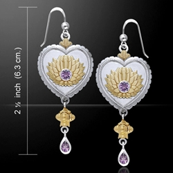 Silver and Gold Lotus Flower Earrings 52-MER863