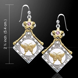 Silver and Gold Butterfly Earrings 52-MER864