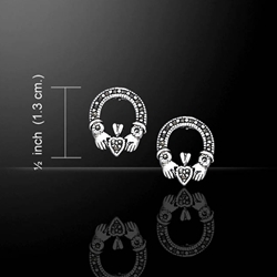 Irish Claddagh Silver Post Earrings with Marcasite 52-TE793