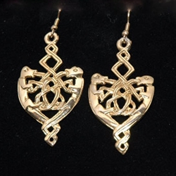 Celtic Knotwork Earrings Gold Plate